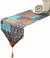 Lwieui Table Runner Vintage Printed Cotton Linen