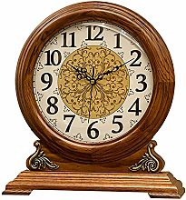 LWLEI Vintage Table Clock Red Oak Frame Fireplace