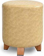 LWW Stools,Creative Seat Stool Solid Wood Leather