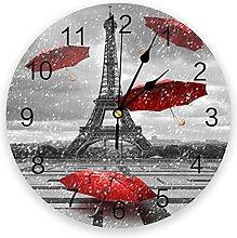 LWXJK Paris Eiffel Tower UmbrellaWall Clock Home