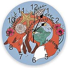 LWXJK Sea Fox Wall Clock Home Decor Bedroom Silent