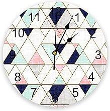 LWXJK Triangles Navy blue Wall Clock Home Decor