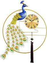 LXBH Peacock Wall Clock European Peacock Home