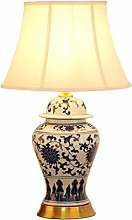 LXD Table Lamps,Desk Lamp Ceramic Table Lamp Blue