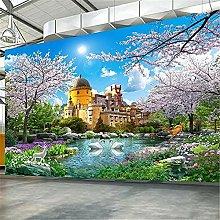 LXiFound Photo Wallpaper -Castle swan Tree Plant