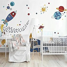 LXiFound Photo Wallpaper -Rocket Planet Cartoon