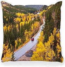 LXJ-CQ Throw Pillow Cover 18x18 Highway Autumn