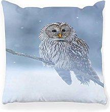 LXJ-CQ Throw Pillow Cover 18x18 Owl in Snow Ural