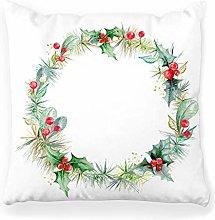 LXJ-CQ Throw Pillow Cover 18x18 Watercolor Wreath