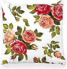 LXJ-CQ Throw Pillow Cover 18x18 White Pattern Red