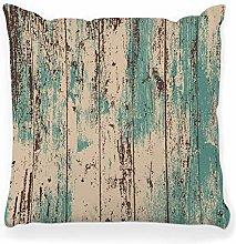LXJ-CQ Throw Pillow Cover 18x18 Wood Texture Teal