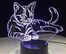 Lying Down Cosy Cat 3D LED Lamp Acrylic Night