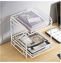 LYLY Iron Desktop Bookshelf Desk Organizer with 2