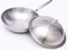 LYMUP 32cm Wok non-stick pan stainless steel less