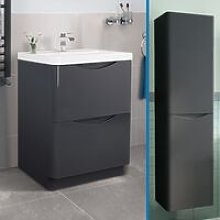 Lyndon 600 Dark Grey Wall Hung Vanity Unit and