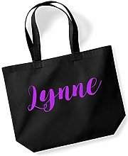 Lynne Personalised Shopping Tote in Black Colour