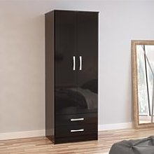 Lynx 2 Door Combination Wardrobe Black