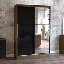 Lynx 2 Door Sliding Mirrored Wardrobe Walnut and