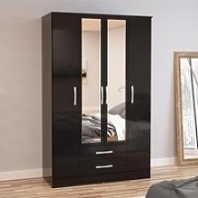 Lynx 4 Door Combination Mirrored Wardrobe Black