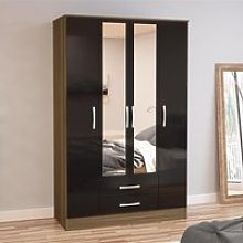 Lynx 4 Door Combination Mirrored Wardrobe Walnut