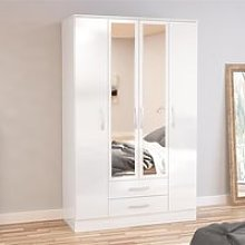 Lynx 4 Door Combination Mirrored Wardrobe White