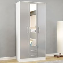 Lynx White and Grey 3 Door Combination Wardrobe