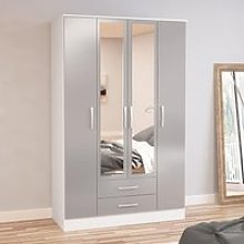 Lynx White and Grey 4 Door 2 Drawer Wardrobe with