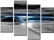 Lynxart - Athos - New black grey blue 4 panel wall