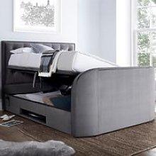Lyon Grey Velvet Fabric Ottoman Media TV Bed Frame