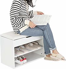 lyrlody Shoes Bench,2 Tier Wooden Shoe Cabinet