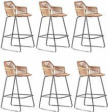 LYRWISHPB 6ps Rattan Bar Chair Stool With Footrest