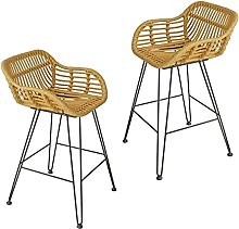 LYRWISHPB Bar Stool Wicker Chair High Table and