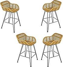 LYRWISHPB Bar Stool with Footrest & Back High Bar