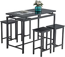 LYUN 5Pcs Bar Style Dining Table Chair Set with 4