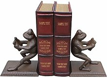 LYUN Bookends Frog Bookends Retro Cast Iron Book