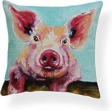 LZHLMCL 2pcs Cushion Cases Linen Animal Pig