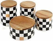 Lzpzz Ceramic Black and White Grid Food Jar