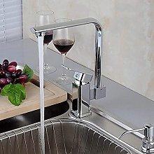 LZQBD Faucets,Plating Brass Kitchen Sink Taps Led