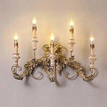 LZQBD Wall Lamp,European Style Retro Wood Candle