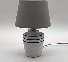 M S L Beige Concrete Table Lamp, Linen, Cream