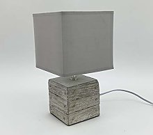 M S L Beige Cube Concrete Table Lamp, Linen, Cream