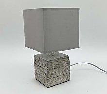 M S L Beige Cube Concrete Table Lamp, Linen, Cream