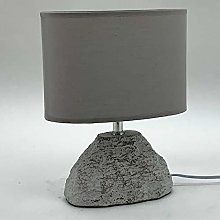 M S L Beige Half Moon Concrete Table Lamp, Linen,