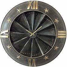 M S L Black and Gold Aeroplane Engine Walk Clock