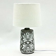 M S L Brown and White Concrete Table Lamp, Linen