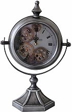 M S L Silver Mantel Gear Clock