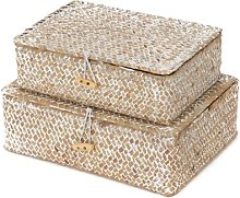 Macao Seagrass Basket (Set of 2) Beachcrest Home