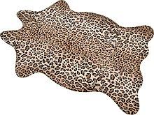 Macevia Leopard Print Rug 3.6ftx2.4ft Faux Skin