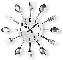 Mack Silver Cutlery 32cm Wall Clock Happy Larry