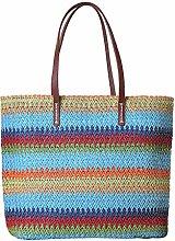 Mackur Straw Bag Colourful Striped Rattan Shopping